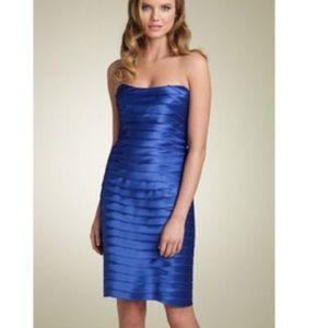 BCBGMAXAZRIA Blue Strapless Layered Dress H421